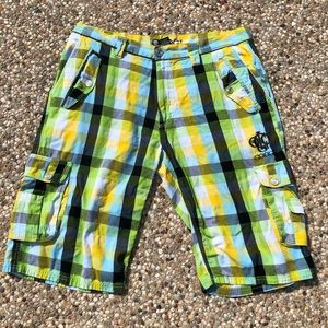 COOGI Long Cargo Shorts Multi Color Plaid Bermuda